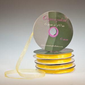 Organza lint – Geel 6mm