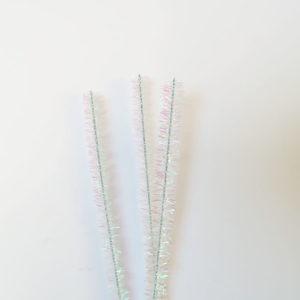 Chenilledraad – Glitter wit